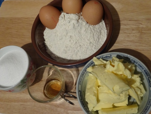 3 eggs, Flour, Sugar, Butter or Stork, 1 tsp Vanilla Essence